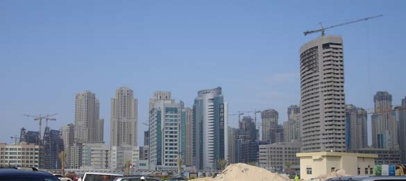 Viewing the Dubai Marina whilst at one of Damac Properties site's