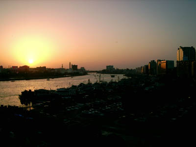 Sunset over Dubai Creek in Deira